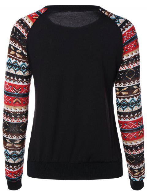 shop Print Spliced Sweatshirt - BLACK M Mobile