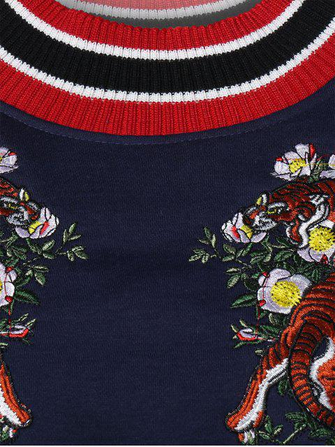 latest Tiger Embroidered Sweatshirt - CADETBLUE ONE SIZE Mobile