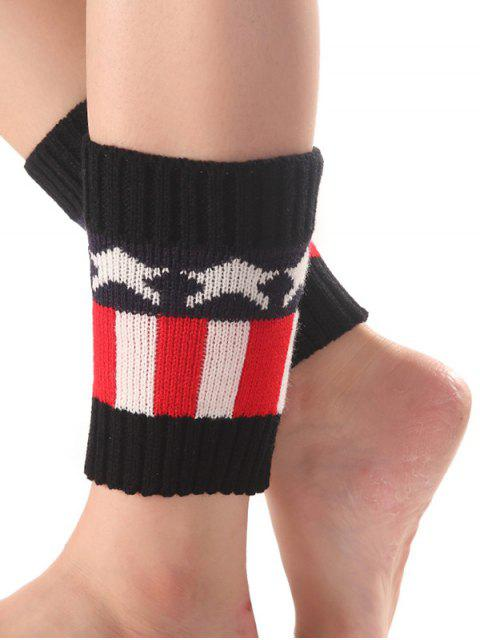 sale Star Stripe Pattern Knit Boot Cuffs - BLACK  Mobile