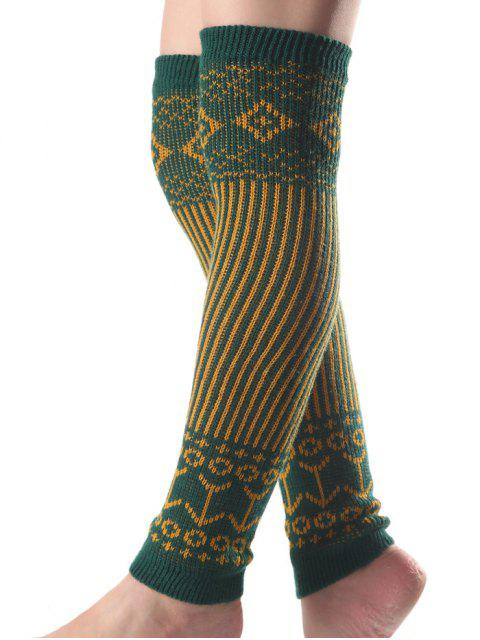 outfits Rhombus Vertical Stripe Knit Leg Warmers -   Mobile