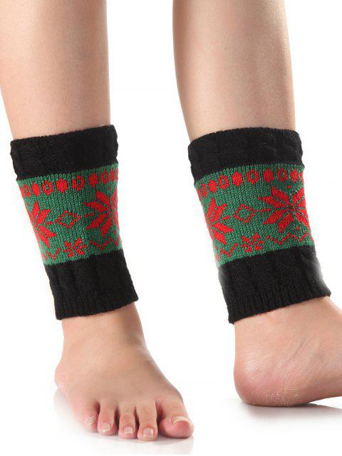 Christmas Snowflake Knit Boot Cuffs - Vert  Mobile