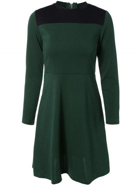 online Contrast Yoke Long Sleeve Dress - GREEN S Mobile