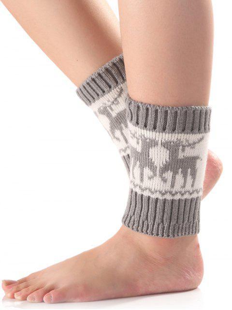 Weihnachten Deer Knit Stiefel Cuffs - Hellgrau  Mobile
