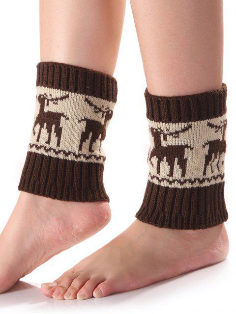 Weihnachten Deer Knit Stiefel Cuffs - Kaffee  Mobile
