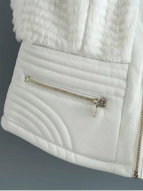PU cuir Spliced fausse fourrure Gilet - Blanc XL Mobile