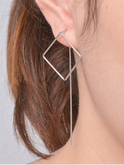 Höhle quadratische Ohrringe - silber  Mobile