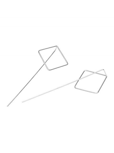 shop Hollow Out Square Earrings - SILVER  Mobile