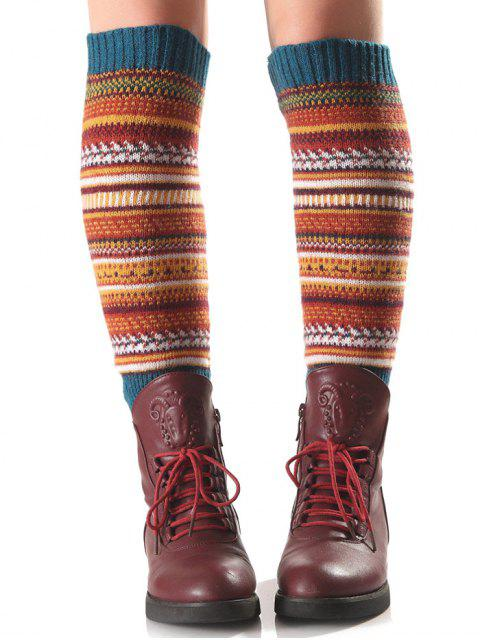 unique Ethnic Stripe Knit Leg Warmers -   Mobile
