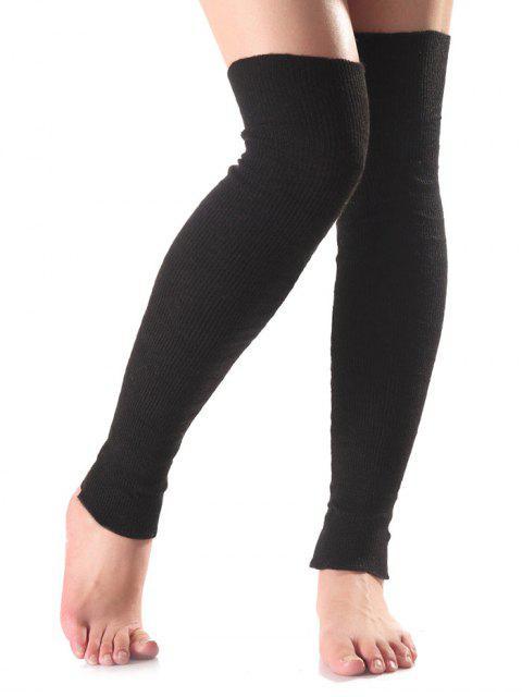 unique Long Knit Leg Warmers - BLACK  Mobile