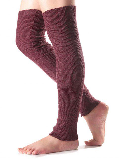 affordable Long Knit Leg Warmers - WINE RED  Mobile