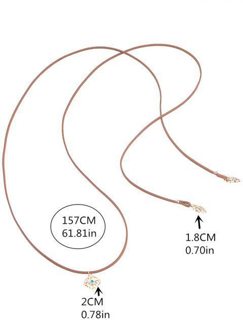 Collier ras-de-cou en cordon avec strass et fleur ciselée - Brun  Mobile