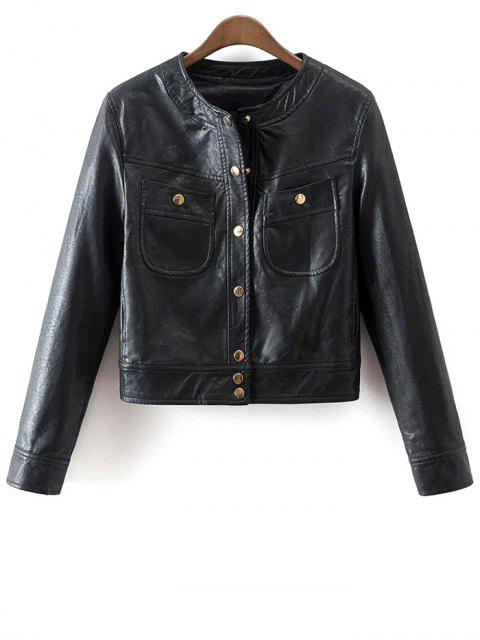 buy Buttons Faux Leather Jacket - BLACK S Mobile