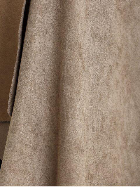 unique Lapel Collar Long Sleeve Suede Coat - KHAKI M Mobile