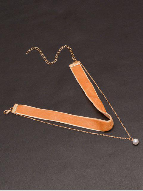 Faux Perlen Layered Samt Choker - Kamelhaarfarbe   Mobile
