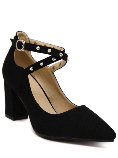 shop Chunky Heel Cross-Strap Rivet Pumps - BLACK 38 Mobile