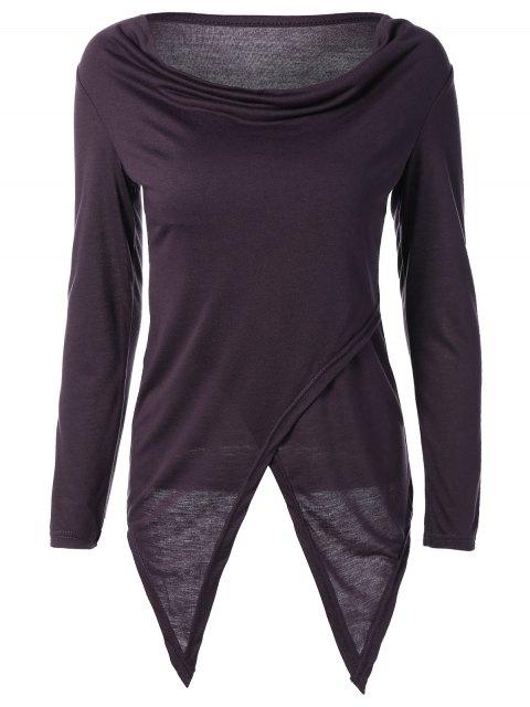 affordable Slit Asymmetric T-Shirt - PURPLE M Mobile