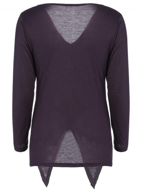 sale Slit Asymmetric T-Shirt - PURPLE L Mobile
