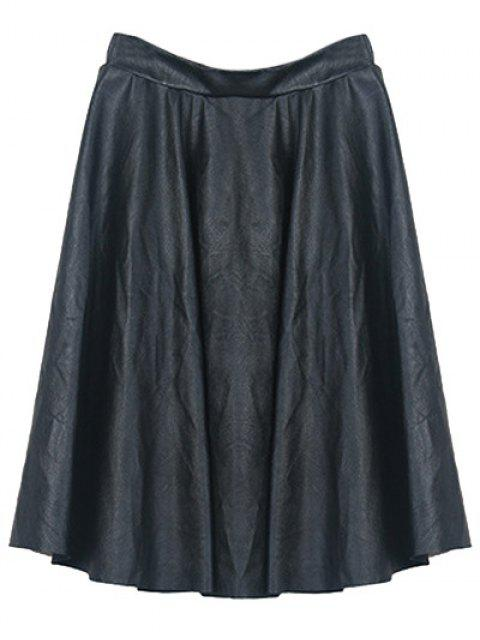 chic A Line PU Leather Skirt - BLACK ONE SIZE Mobile