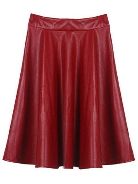 fancy A Line PU Leather Skirt - WINE RED ONE SIZE Mobile