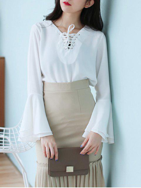 new Flare Sleeve Lace Up Chiffon Blouse - WHITE ONE SIZE Mobile