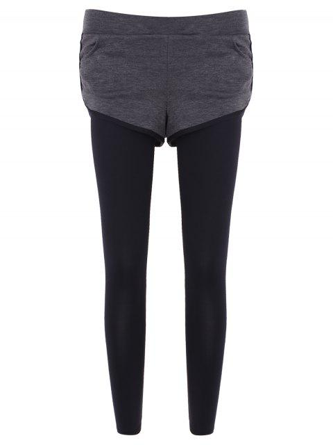 fancy Slim Pockets Fake Twinset Leggings - GRAY L Mobile
