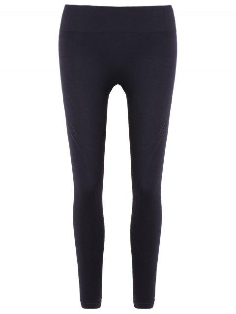 affordable Slim Tighten Waist Ninth Leggings - BLACK L Mobile