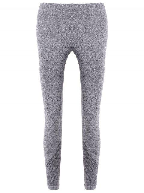 women Slim Tighten Waist Ninth Leggings - GRAY L Mobile