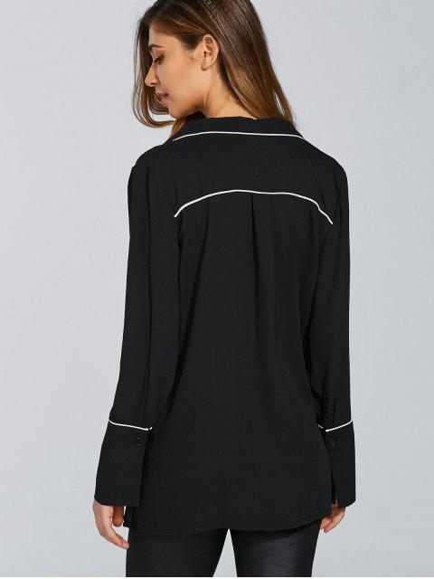 fancy Loose Color Block Blouse - BLACK L Mobile