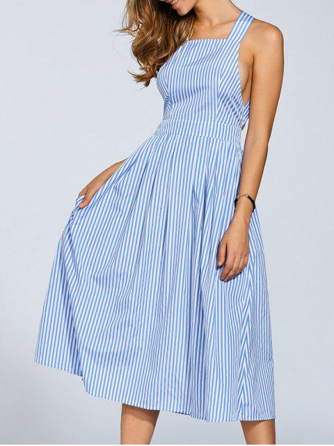 unique Striped Straps A Line Dress - STRIPE S Mobile