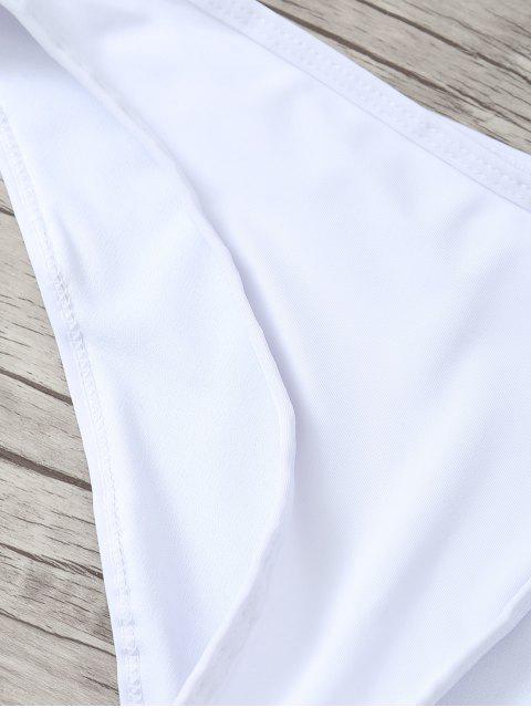 fashion Ruffles Off Shoulder Bikini Swimwear - WHITE M Mobile
