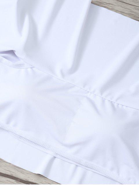 chic Ruffles Off Shoulder Bikini Swimwear - WHITE S Mobile