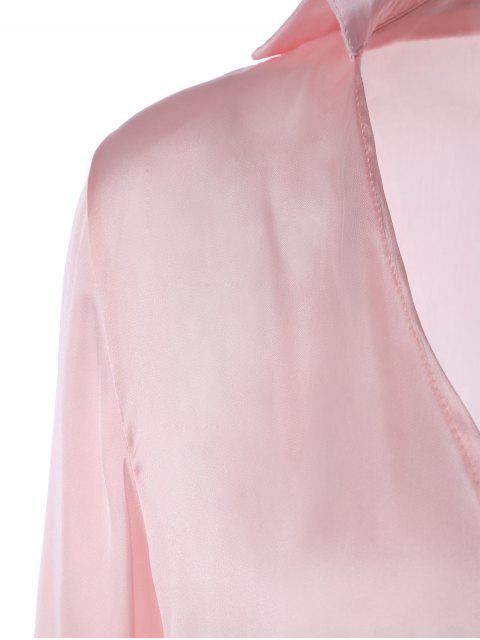 womens Long Sleeve Satin Mini Wrap Dress - PINK M Mobile