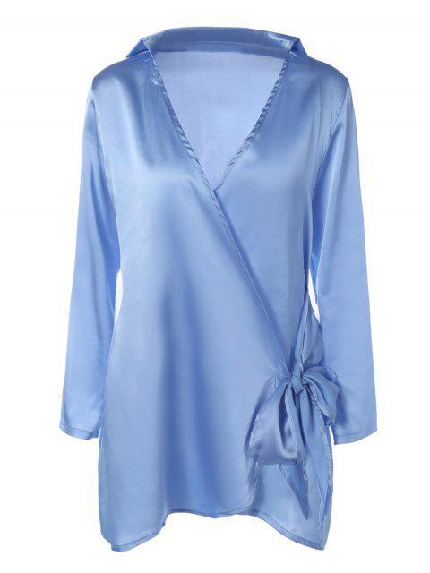hot Long Sleeve Satin Mini Wrap Dress - LIGHT BLUE M Mobile