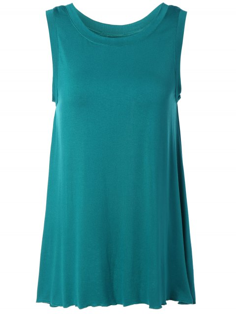 lady Back Slit Asymmetric Tank Top - GREEN L Mobile