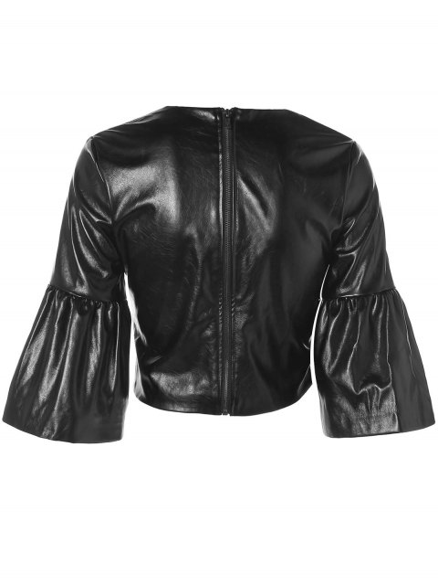 ladies PU Leather Butterfly Sleeve Cropped Top - BLACK M Mobile