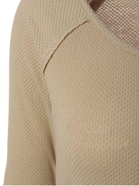 chic Contrasting Cuffs Long Sleeve Top - KHAKI M Mobile