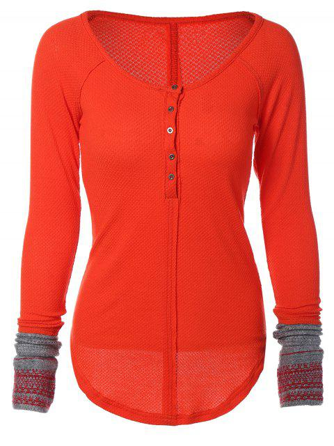 women's Contrasting Cuffs Long Sleeve Top - JACINTH L Mobile