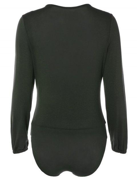 chic Long Sleeve Plunge Bodysuit - BLACKISH GREEN M Mobile