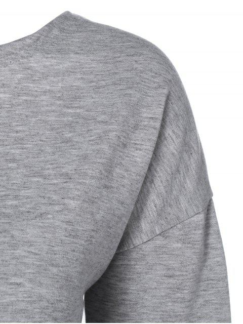 outfit Lace-Up Loose Cut Out Sweatshirt - GRAY XL Mobile