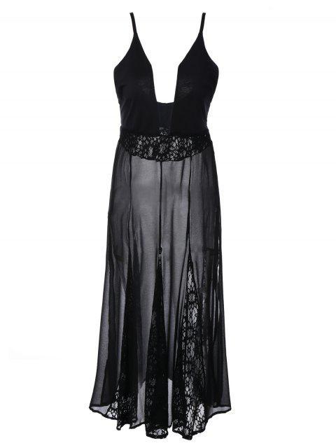 Robe transparente à bretelles en dentelle - Noir L Mobile