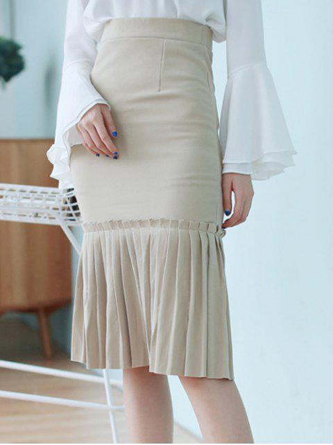 unique High Waisted Pleated Mermaid Skirt - LIGHT KHAKI ONE SIZE Mobile