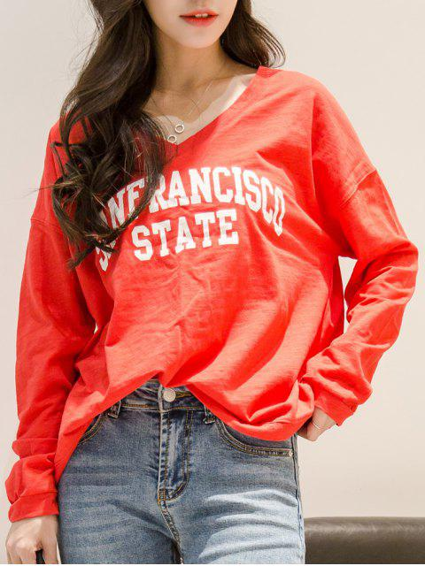 outfits V Neck Sanfrancisco State T-Shirt - RED ONE SIZE Mobile