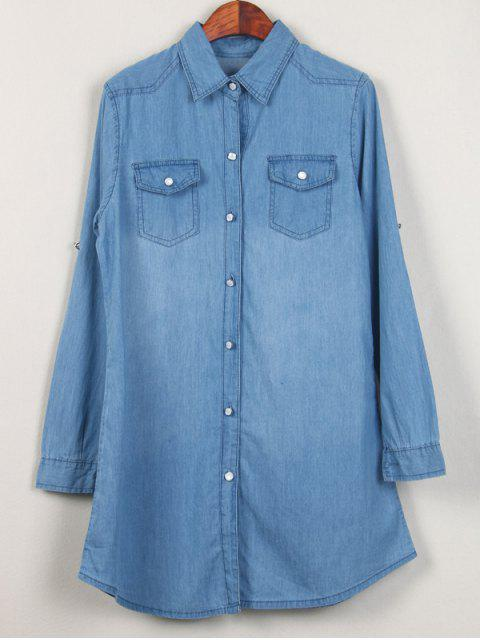 outfit Shirt Neck Long Denim Shirt - LIGHT BLUE L Mobile