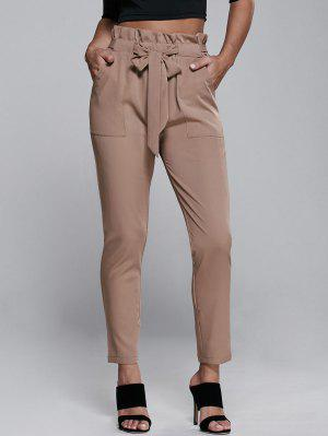 High Waisted Belted Narrow Feet Pants - Khaki S