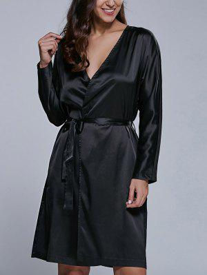Long Sleeve Midi Wrap Work Dress - Black S