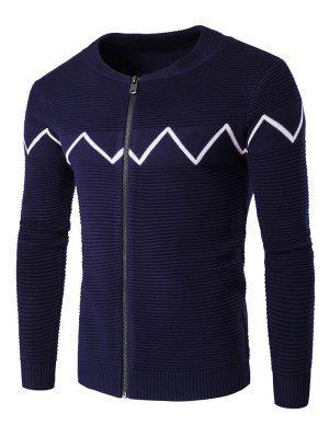 Crew Neck Waviness Knitting Splicing Zip-Up Cardigan - Cadetblue M