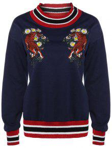 Tiger Embroidered Sweatshirt - Cadetblue