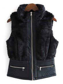 PU Leather Spliced Faux Fur Waistcoat - Black S
