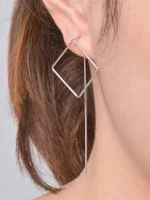 Hollow Out Square Earrings - Silver