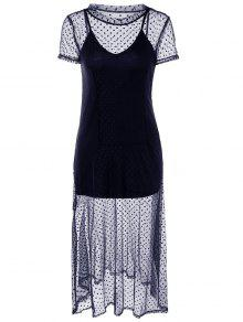 Dotted Two Piece Dress - Cadetblue 2xl